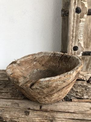 Indian Wooden Mortar Bowl Natural 25x25x12 cm