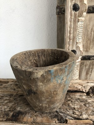 Indian Wooden Mortar Bowl Natural 18x18x16 cm