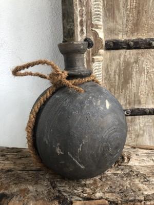 Wooden Surai Pot Rustic Black XL 20x20x27 cm