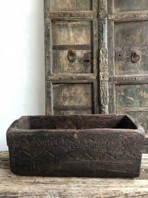 Wooden Box Carved XXL Moon 59x23x23 cm
