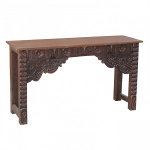 Antique Indian carved chocolate Brown Console Hall Table