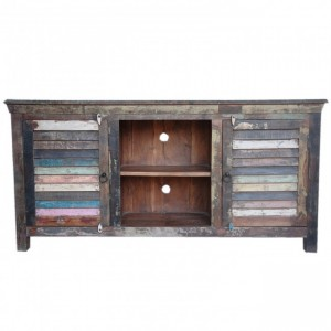 SALVAGE Shutter Reclaimed Wood Tv Unit Multicolour