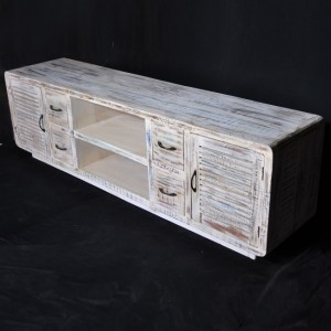 SALVAGE Reclaimed White TV Unit 200Cm