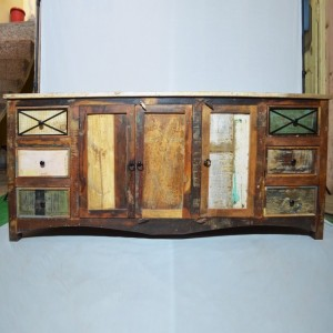 RUSTICA reclaimed timber boat wood sideboard Multi Colour 200x50x90cm