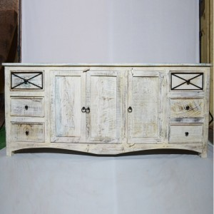 RUSTICA reclaimed timber boat wood sideboard White 200x50x90cm