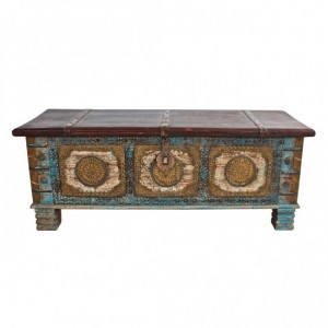 Indian Embossed Brass work Solid wood Blanket Box Coffee Table Chest Blue