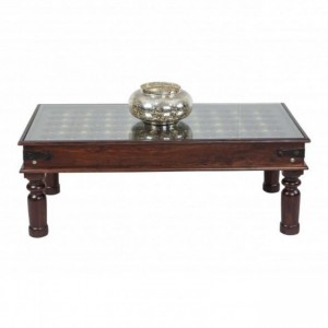 Brasswork Wooden Coffee Table Brown