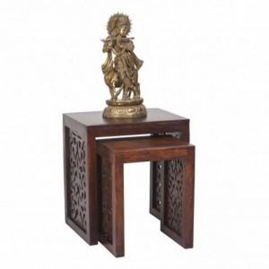 Jali Carved wooden Lamp Side Table