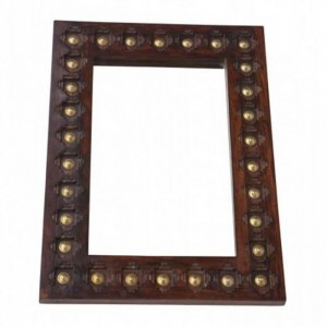 Mogra Brass Work Indian Antique Style Solid Wood Wall Mirror Frame 90x65cm
