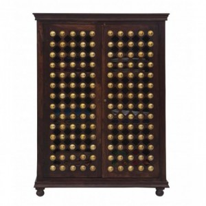 Mogra Brass Work Indian Antique Style Walnut Solid Wood Cabinet Pantry 160cm