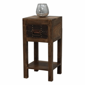 Solid Wood Metal Bedside Table Brown