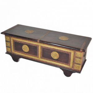 Indian Embossed Brass work Solid wood Blanket Box Coffee Table Chest Walnut S