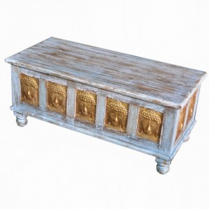 Indian Embossed Buddha Brass work Solid Blanket Box Coffee Table Chest Blue