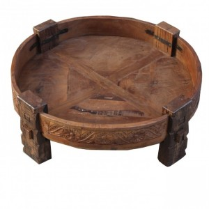 Tribal Grinder Round Coffee Table Brown