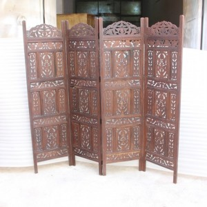 Dynasty Hand Carved Indian Partition Screen room divider BROWN