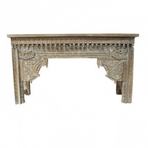 Antique Carved Console Table Whitewash