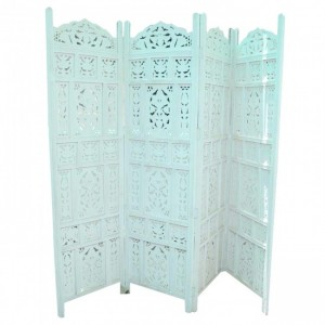 Dynasty Hand Carved Indian Partition Screen room divider White