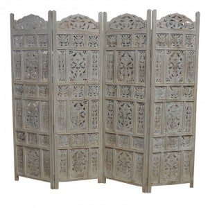Dynasty Hand Carved Indian Partition Screen room divider OFF White