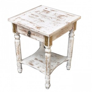Shabby Chic Distressed Wood White Lamp Table