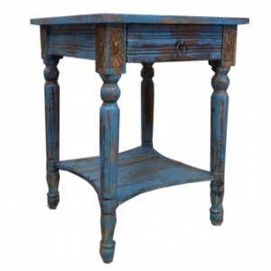 Indian Distressed Wood Blue Lamp Table