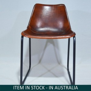 Aged Leather Metal Iron Dining Bar Chair