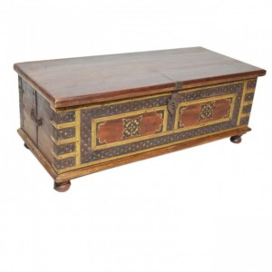 Indian Embossed Brass work Solid wood Blanket Box Coffee Table Chest Walnut