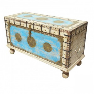 Indian Embossed Brass work Solid wood Blanket Box Coffee Table Chest White