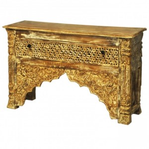 Indian Carved Brown Console Table With 1 Drawer