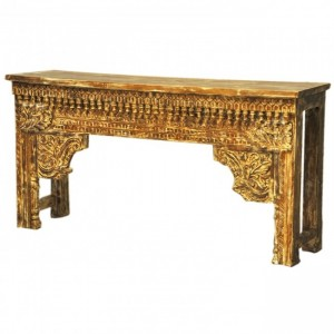 Antique Indian Carved Brown Console Table