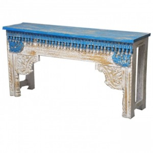 Antique Indian Hand Carved White Blue Console Hall Table
