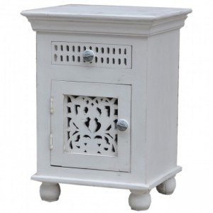 Hand Carved Wooden Bedside White