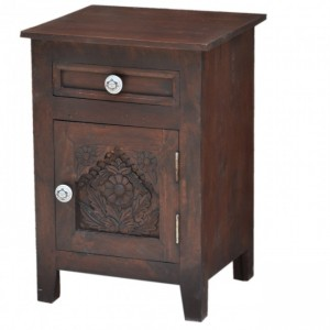 Hand Carved Wooden French Bedside Brown