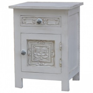 Hand Carved Wooden Bedside White B