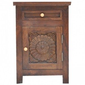 Hand Carved Wooden Bedside Brown C