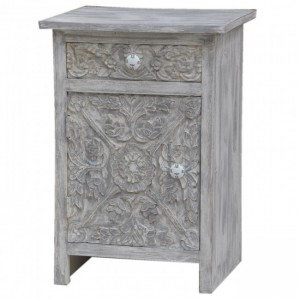 Paris Solid Wood Carved White Bedside