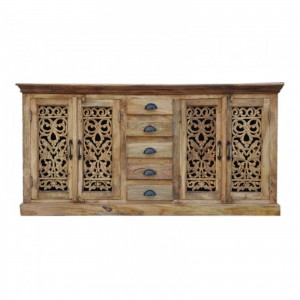 JALI Carved wooden 5 Drawers Sideboard