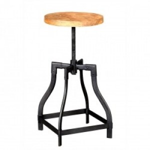 Barn Industrial Adjustable Height Bar Kitchen Stool with Metal Legs