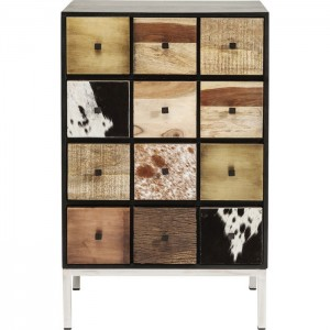Lava Exotic Cowhide Leather Industrial Tallboy Chest of drawers