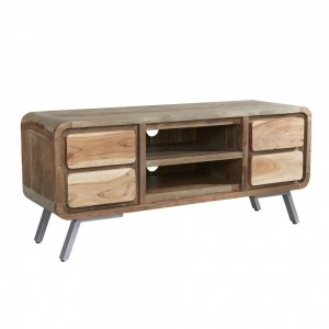 Lava Industrial Curve Sheesham Modern Entertainment Unit TV Stand