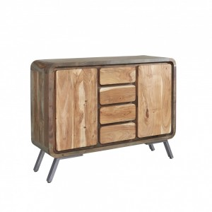 Lava Industrial Curve Sheesham Modern Buffet Sideboard Large