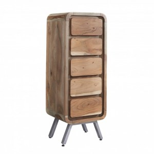 Lava Industrial Curve Sheesham Tallboy Chest of Drawers Tall 120cm