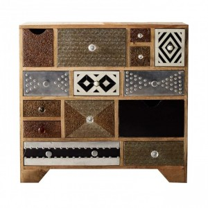 Lava Industrial Emboss Pressed Metal Dresser Chest of drawers Bone Inlay