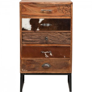 Lava Industrial Leather Tallboy dresser chest of 5 drawers