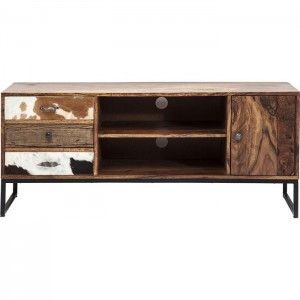 Lava Industrial Leather Cowhide Entertainment Unit Plasma TV Stand