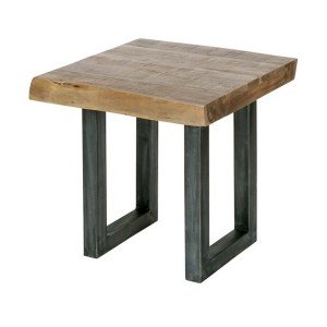 Live Edge Acacia Side Table Industrial Lamp Table Square Corner 50x50x50cm