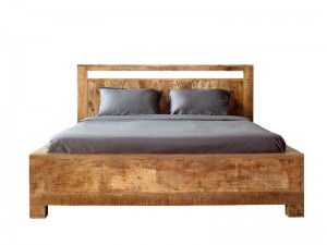 Solid Wood Indian King Size Bed With Box Spring Natural