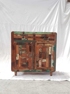 Indian Rustic Hand Carved Solid Wooden Beautiful Buffet Cabinet Sideboard 90x40x90cm