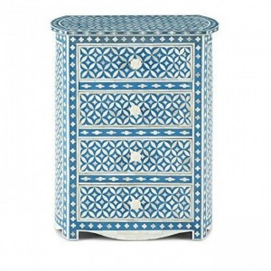 MAAYA Bone Inlay Chest of 4 Drawers Blue