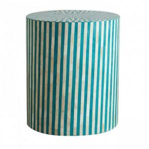 MAAYA Bone Inlay Round Coffee Table Turquoise