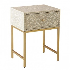 MAAYA Bone Inlay 1 Drawers Chest Bedside